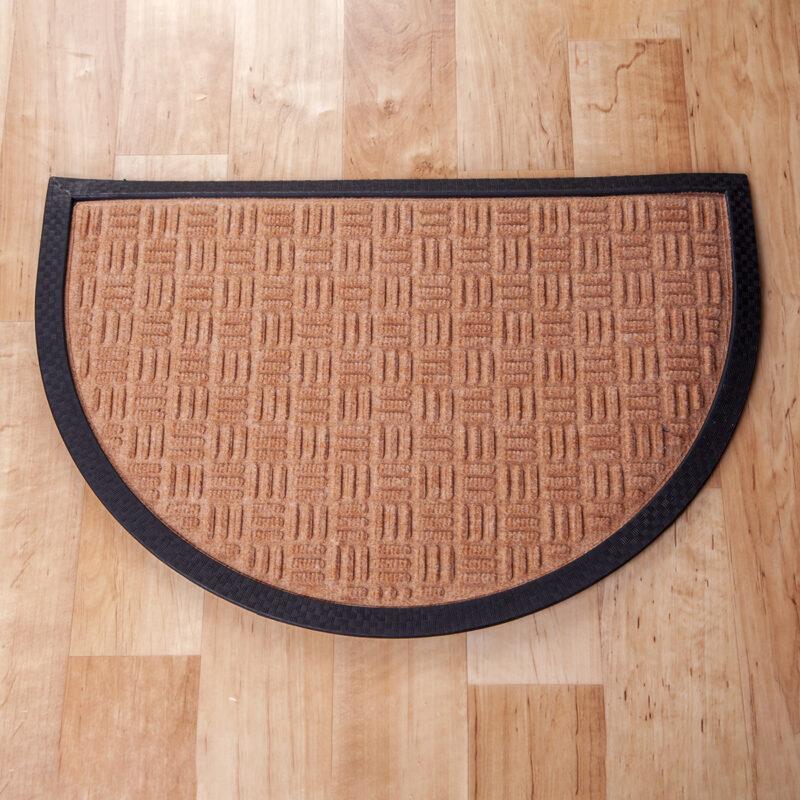Gumis textil félkör lábtörlő 40x60 cm - Beige színben rácsos mintával