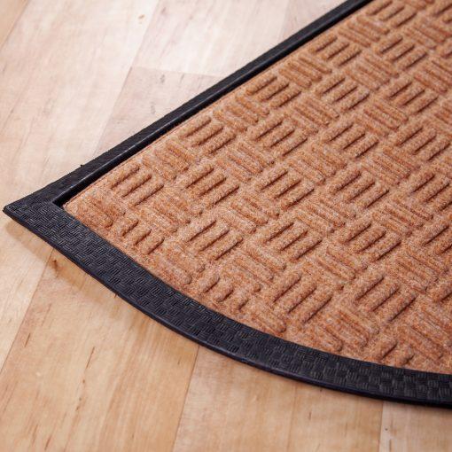 Gumis textil félkör lábtörlő 40x60 cm - Beige színben rácsos mintával - sarok
