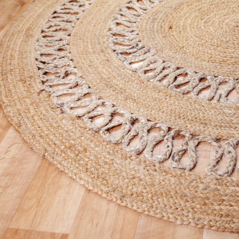 Kör alakú juta szőnyeg 120 cm fonott mintával - közeli
