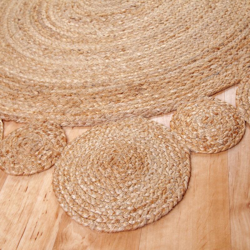 Kör alakú juta szőnyeg 120 cm - Kis kör mintával - közeli